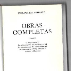 Libros de segunda mano: OBRAS COMPLETAS. TOMO IV. WILLIAM SHAKESPEARE. 306 PAGINAS. 1982. Lote 74161027