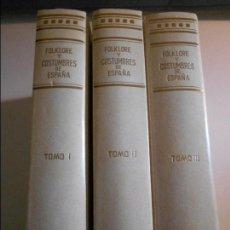 Libros de segunda mano: FOLKLORE Y COSTUMBRES DE ESPAÑA. OBRA EN 3 TOMOS. EDICIONES MERINO, MADRID 1988. TAPA DURA. CON ILUS. Lote 100540463