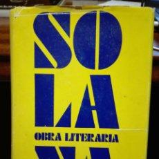 Libros de segunda mano: JOSÉ GUTIÉRREZ SOLANA. TAURUS EDICIONES. MADRID 1961. PRIMERA EDICIÓN. ARTE. PINTURA. OBRA LITERARIA. Lote 74728063