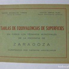 Libros de segunda mano: TABLAS DE EQUIVALENCIAS DE SUPERFICIES EN TODOS LOS TÉRMINOS LA PROVINCIA ZARAGOZA 1946 CAHÍCES ÁREA. Lote 76911279
