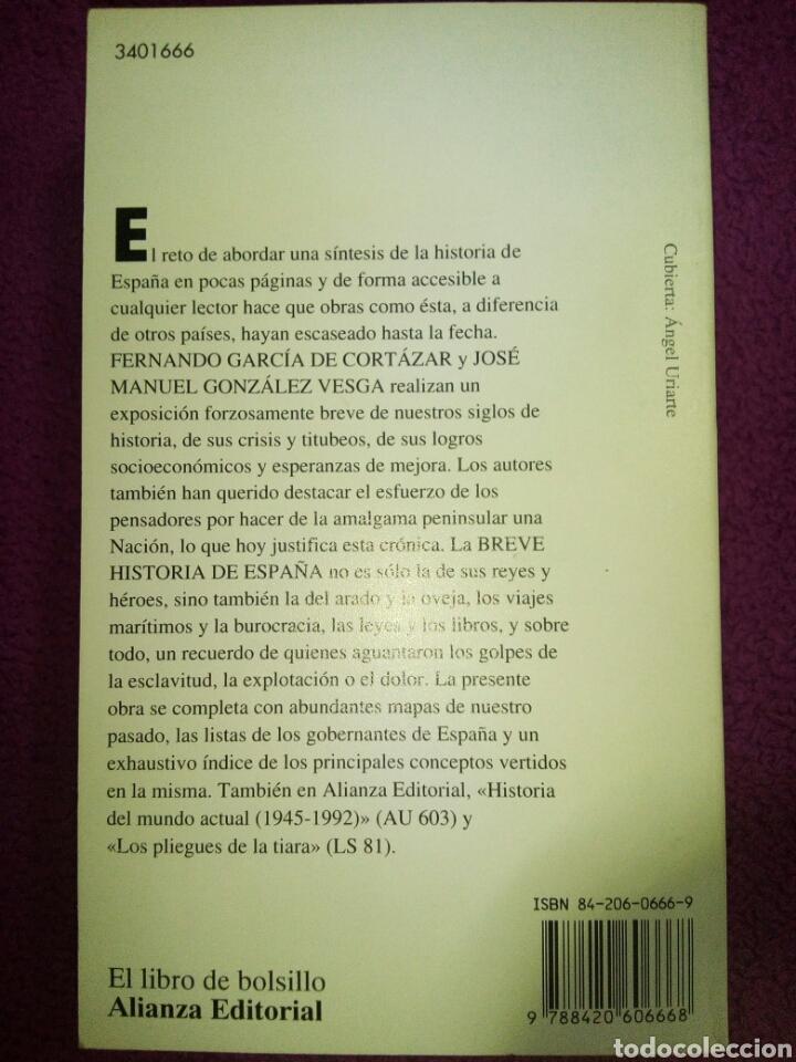 Libros de segunda mano: Breve Historia de España. Fernando García de Cortázar y J. Manuel González Vesga. - Foto 2 - 79653215