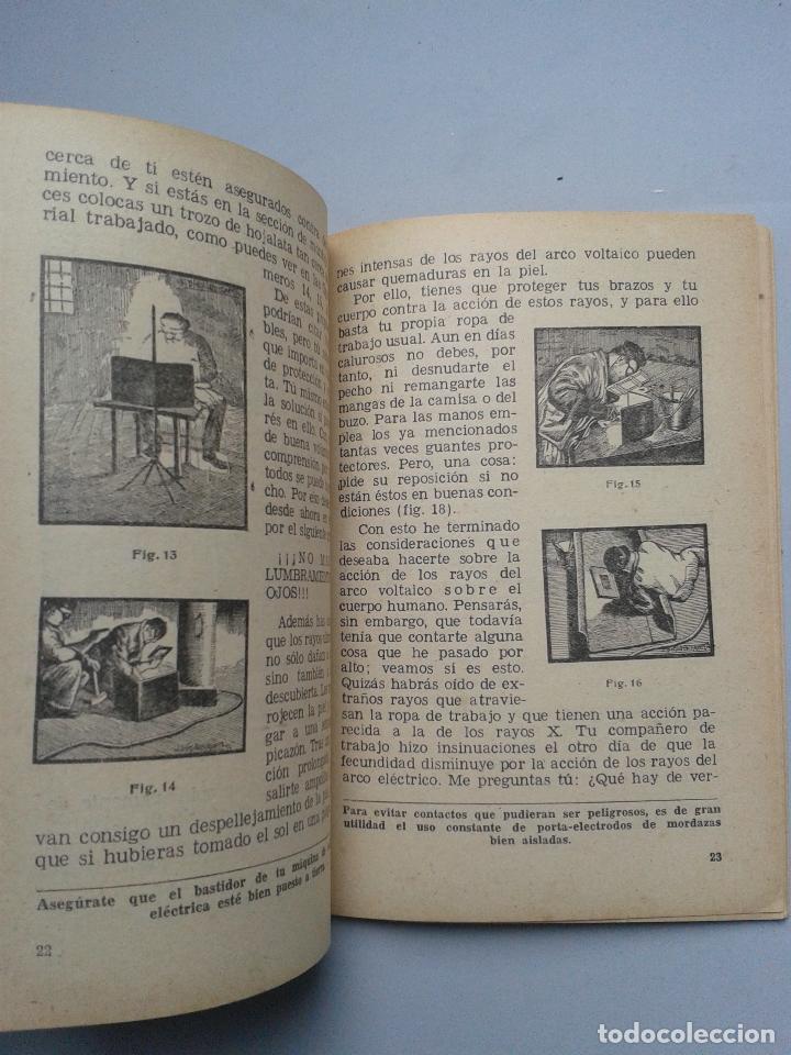 Libros de segunda mano: Manual de Seguridad para la soldadura eléctrica. Estebán Salinas Salazar. Año 1955. - Foto 3 - 80724498