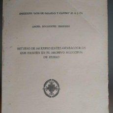 Libros de segunda mano: ESTUDIO DE 180 EXPEDIENTES GENEALÓGICOS QUE EXISTEN EN EL ARCHIVO MUNICIPAL DE BILBAO. Lote 82155040