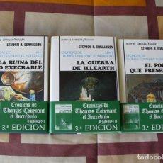 Livres d'occasion: CRONICAS DE THOMAS COVENANT EL INCREDULO - STEPHEN R DONALDSON - TAPA DURA, ESTUCHE - NUEVOS. Lote 151111621