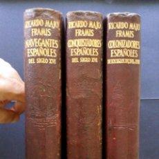 Libros de segunda mano: ETERNAS, NAVEGANTES, CONQUISTADORES Y COLONIZADORES ESPAÑOLES, 3 TOMOS, AGUILAR. Lote 84523208