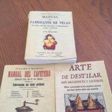 Libros de segunda mano: LOTE LIBROS FACSÍMIL EDITORIAL MAXTOR. MANUAL DEL CAFETERO,MANUAL FABRICANTE VELAS, ARTE DE DESTILAR. Lote 85488374