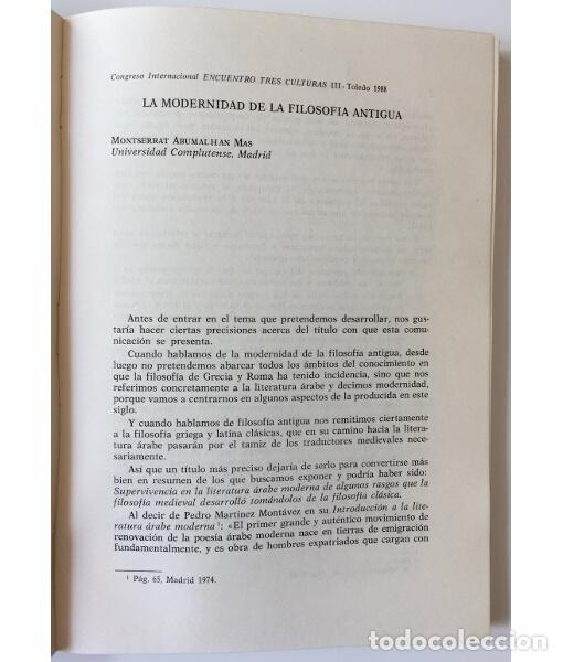 Libros de segunda mano: ACTAS DEL III CONGRESO INTERNACIONAL ENCUENTRO DE LAS TRES CULTURAS (TOLEDO, 15-17 OCTUBRE 1984) - Foto 4 - 85958598