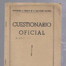 Libros de segunda mano: CUESTIONARIO OFICIAL. OPOSICIONES A INGRESO EN EL MAGISTERIO NACIONAL. MAYO 1950. Lote 89731752