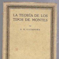 Libros de segunda mano: LA TEORIA DE LOS TIPOS DE MONTES. A.K.CAJANDER. LA MONCLOA, MADRID. AÑO V, Nº 10. Lote 89800420