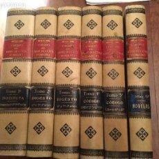 Libros de segunda mano: CUERPO DEL DERECHO CIVIL ROMANO. 6 TOMOS. ED. DE JAIME MOLINAS, AÑO 1889-98. O. C.. Lote 73202479