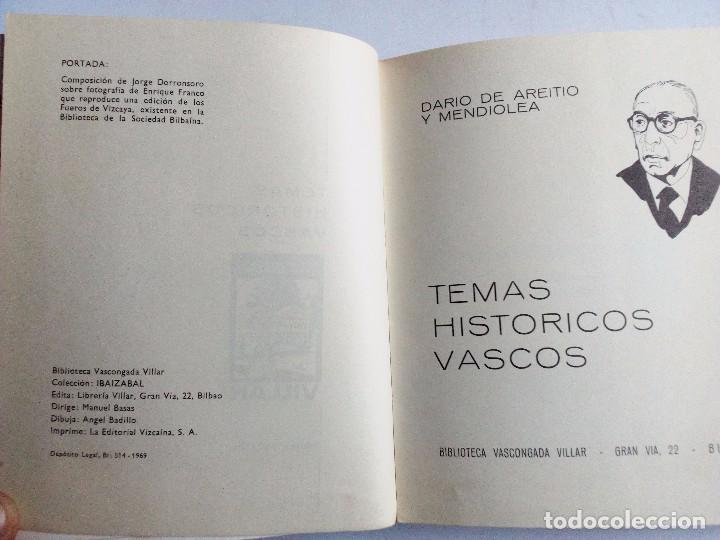 Libros de segunda mano: TEMAS HISTÓRICOS VASCOS DARÍO DE AREITIO BIBLIOTECA VASCONGADA VILLAR 1969 - Foto 5 - 91132145