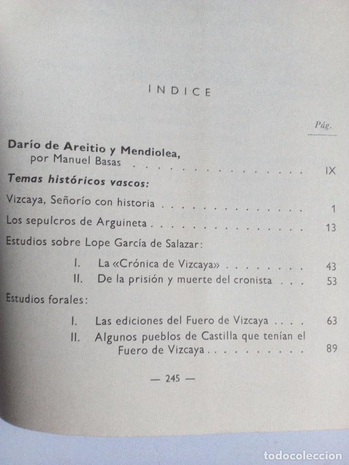Libros de segunda mano: TEMAS HISTÓRICOS VASCOS DARÍO DE AREITIO BIBLIOTECA VASCONGADA VILLAR 1969 - Foto 6 - 91132145