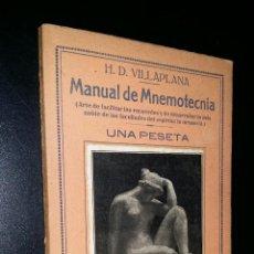 Libros de segunda mano: MANUAL DE MNEMOTECNIA / H.D. VILLAPLANA . Lote 94103095