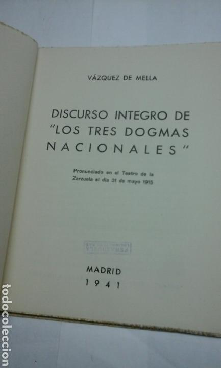 Libros de segunda mano: Los tres dogmas nacionales.Vazquez de Mella.1941 - Foto 3 - 94454707