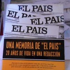 Libros de segunda mano: UNA MEMORIA DE 'EL PAÍS' - JUAN CRUZ RUIZ. Lote 94495762