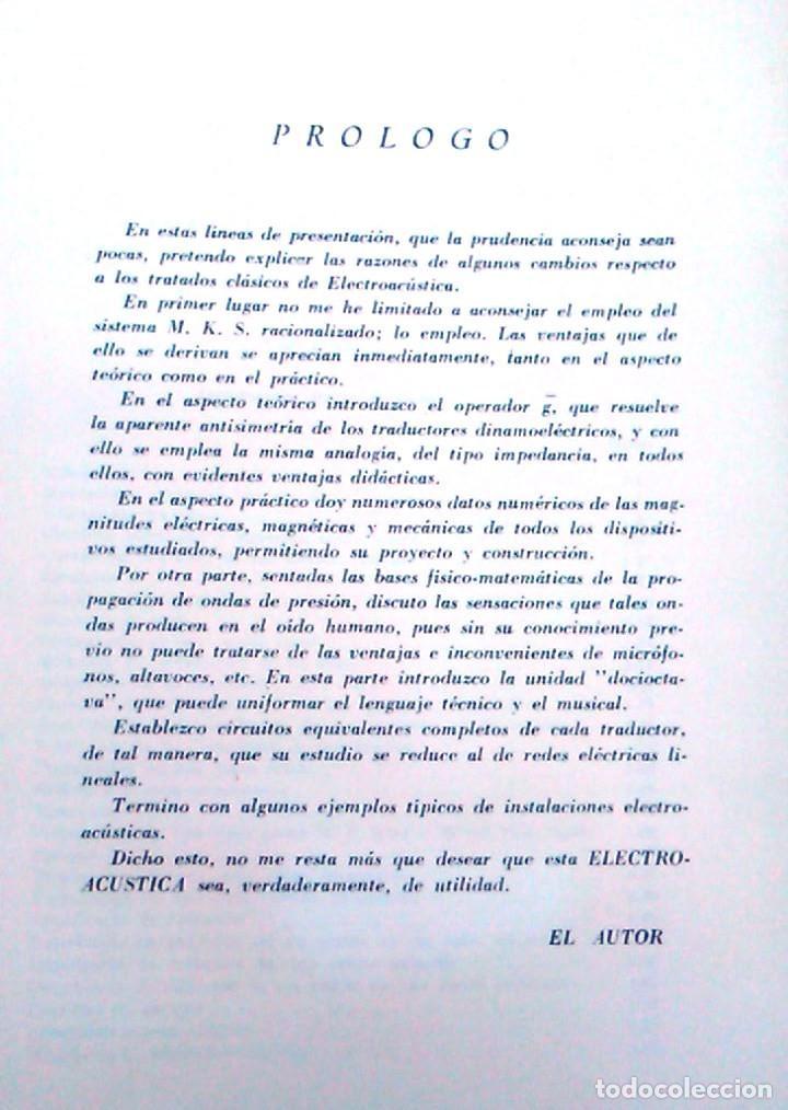 Libros de segunda mano: Electroacústica, Joaquín G. Barquero, ingeniero de telecomunicación. 1959. Gráficas González. Libro. - Foto 3 - 95036547