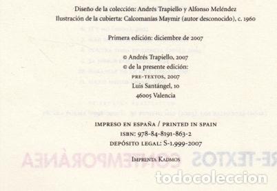 Libros de segunda mano: ANDRÉS TRAPIELLO SALÓN DE PASOS PERDIDOS 15 LA MANÍA PRE-TEXTOS 2007 1ª EDICIÓN COL NARRATIVA CONTEM - Foto 3 - 96394035