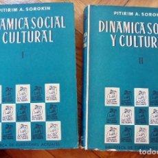 Libros de segunda mano: DINAMICA SOCIAL Y CULTURAL.PITIRIM A. SOROKIN.2 TOMOS.1962. Lote 96922795