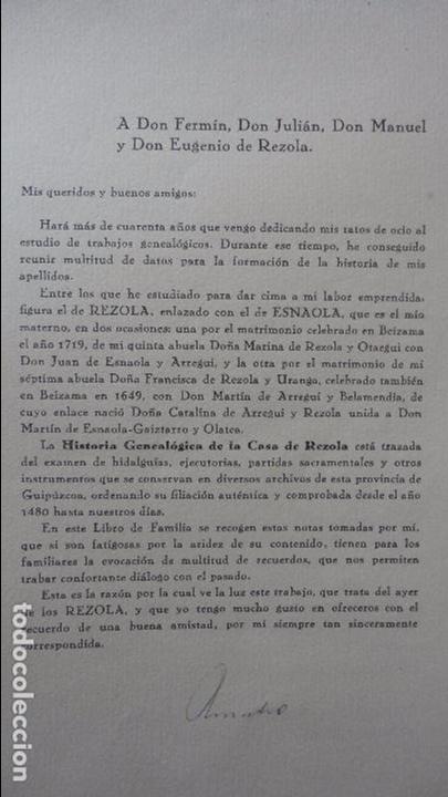 Libros de segunda mano: AMADEO DELAUNET ESNAOLA.HISTORIA GENEALOGICA CASA SOLAR DE REZOLA.1480-1949. SAN SEBASTIAN 1949. - Foto 7 - 96934391