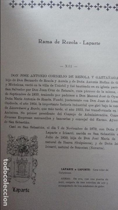 Libros de segunda mano: AMADEO DELAUNET ESNAOLA.HISTORIA GENEALOGICA CASA SOLAR DE REZOLA.1480-1949. SAN SEBASTIAN 1949. - Foto 19 - 96934391
