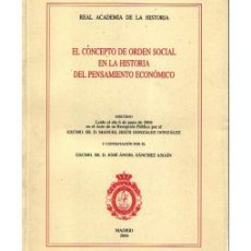Libros de segunda mano: EL CONCEPTO DE ORDEN SOCIAL EN LA HISTORIA DEL PENSAMIENTO ECONÓMICO. Lote 97332231