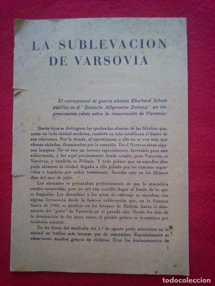 1943 LA SUBLEVACION DE VARSOVIA 21 CMS 8 PGS II GUERRA MUNDIAL K1 (Libros de Segunda Mano - Bellas artes, ocio y coleccionismo - Otros)