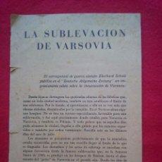 Libros de segunda mano: 1943 LA SUBLEVACION DE VARSOVIA 21 CMS 8 PGS II GUERRA MUNDIAL K1. Lote 98126975