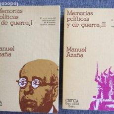 Libros de segunda mano: MEMORIAS POLÍTICAS Y DE GUERRA. TOMOS I Y II. MANUEL AZAÑA.. Lote 98346311