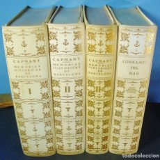 Libros de segunda mano: MEMORIAS HISTÓRICAS DE BARCELONA. MARINA COMERCIO Y ARTE. CONSULADO DEL MAR. OBRA COMPLETA. 4 TOMOS. Lote 98365831