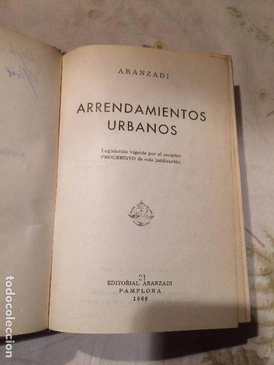 Libros de segunda mano: Antiguo libro arrendamiento urbano por Aranzadi año 1966 - Foto 2 - 98408391