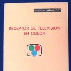 Libros de segunda mano: RECEPTOR DE TELEVISIÓN EN COLOR. COLECCIÓN INFORMACIÓN MINIWATT, B07. COPRESA, S.A. AÑOS 70. LIBRO.. Lote 98584091