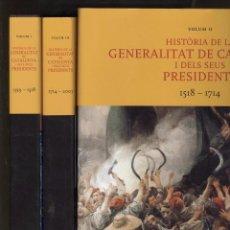 Libros de segunda mano: HISTORIA DE LA GENERALITAT DE CATALUNYA I ELS SEUS PRESIDENTS. 3 VOLUMS. ED. ENCICLOPEDIA 2003. NOUS. Lote 99116771