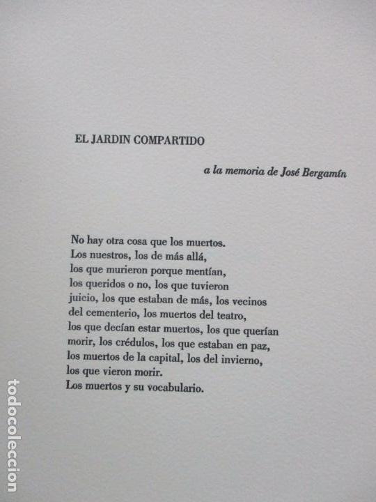 Libros de segunda mano: JARDIN COMPARTIDO.VELA, María y PAZOS, Carlos.1989. ILUSTR.GRABADO-COLLAGE. ED. NUMERADA Y FIRMADA. - Foto 4 - 99744715