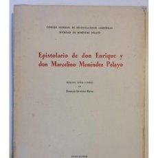 Libros de segunda mano: EPISTOLARIO DE DON ENRIQUE Y DON MARCELINO MENÉNDEZ PELAYO. Lote 99936300