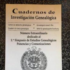Libros de segunda mano: CUADERNOS DE INVESTIGACIÓN GENEALÓGICA 1999. Lote 101020755