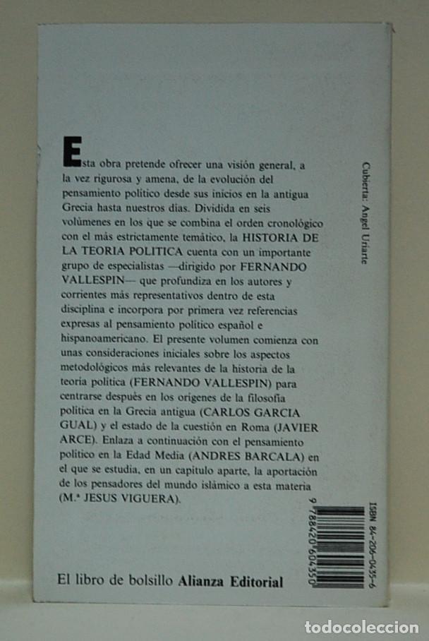 Libros de segunda mano: LMV - Historia de la teoria política, tomo 1. Fernando Vallespin - Foto 2 - 101679531