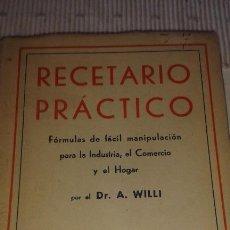 Libros de segunda mano: RECETARIO PRÁCTICO. Lote 102444591