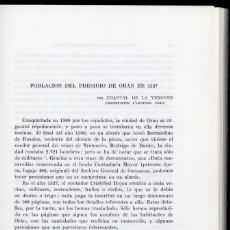 Libros de segunda mano: VERONNE, CHANTAL DE LA. POBLACIÓN DEL PRESIDIO DE ORÁN EN 1527. 1973.. Lote 103023371