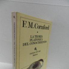 Libros de segunda mano: LA TEORÍA PLATÓNICA DEL CONOCIMIENTO. AUTOR: F. M. CORNFORD. PAIDOS. Lote 179005166