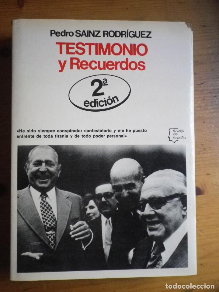 LIBRO TESTIMONIOS Y RECUERDOS PEDRO SAINZ RODRIGUEZ EDITORIAL PLANETA (Libros de Segunda Mano - Historia - Otros)