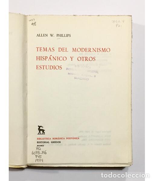 Libros de segunda mano: TEMAS DEL MODERNISMO HISPÁNICO Y OTROS ESTUDIOS - Foto 2 - 103695023