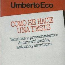 Livros em segunda mão: COMO SE HACE UNA TESIS, UMBERTO ECO. Lote 103875679