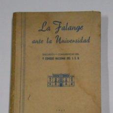 Libros de segunda mano: LA FALANGE ANTE LA UNIVERSIDAD, DISCURSOS Y CONFERENCIAS V CONSEJO NACIONAL DEL S.E.U 1942. TDK328. Lote 104304923