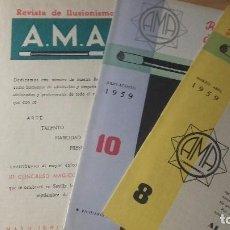 Libros de segunda mano: MAGIA. AMA. REVISTA DE ILUSIONISMO. LOTE DE 4 NUMEROS. AÑO 1959.. Lote 104540543