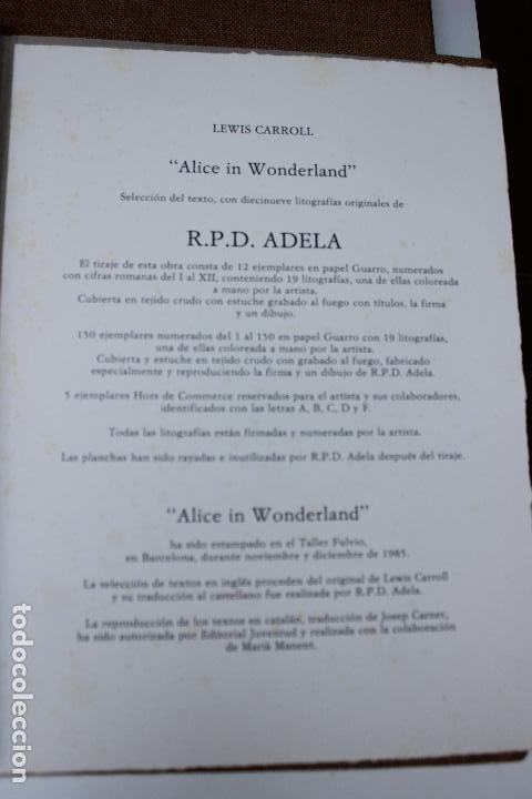 Libros de segunda mano: Alice in Wonderland. Lewis Carrol. R.P.D ADELA. Josep Carner. Marià Manent 1985. Libro artista único - Foto 4 - 104663355