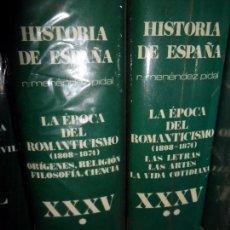Libros de segunda mano: LA ÉPOCA DEL ROMANTICISMO (1808-1874), XXXV, 2 VOLÚMENES, MENÉNDEZ PIDAL, NUEVOS. Lote 104978679