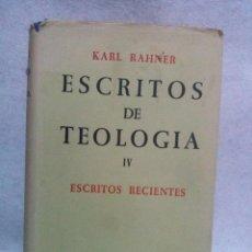 Libros de segunda mano: ESCRITOS DE TEOLOGÍA. TOMO IV - RAHNER, KARL.. Lote 105128047