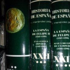 Libros de segunda mano: ESPAÑA EN TIEMPOS DE FELIPE II, XXII, VOLÚMENES I, II, III Y IV, MÉNENDEZ PIDAL, III Y IV PRECINTAD. Lote 105370447
