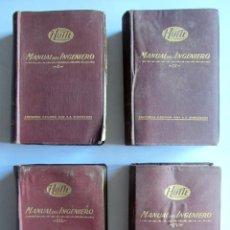 Libros de segunda mano: MANUAL DEL INGENIERO HÜTE GUSTAVO GILI 1950 LOTE COMPLETO DE 4 TOMOS. Lote 105822703