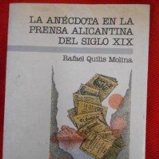 Libros de segunda mano: LA ANECDOTA EN LA PRENSA ALICANTINA DEL SIGLO XIX. Lote 106042479